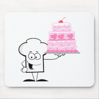 Chefs Hat Character Holding Up A Beautifully Cake Mouse Pad