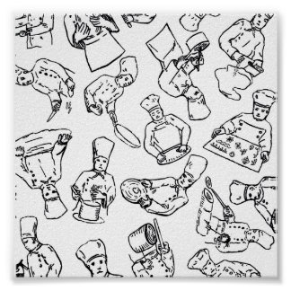 Chefs Pastry Chefs and Cooks Working Print