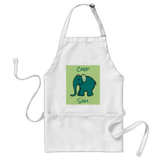Chef's Personalised Green Cute Cartoon Elephant Adult Apron