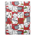 Chefs Tools Checkerboard Spiral Note Book