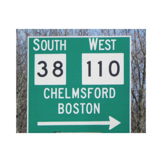 CHELMSFORD AND BOSTON THAT WAY WRAPPED CANVAS PRINT