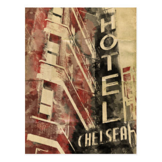 Chelsea Hotel Vintage Watercolor Postcard