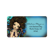 Chelsea Mermaid Seahorse Fantasy Art Label