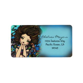 Chelsea Mermaid Seahorse Fantasy Art Label