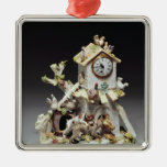 Chelsea porcelain farmyard clock case metal ornament