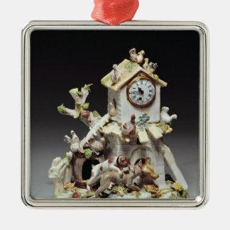Chelsea porcelain farmyard clock case metal ornament
