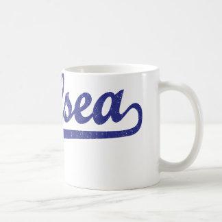 Chelsea script logo in blue coffee mug