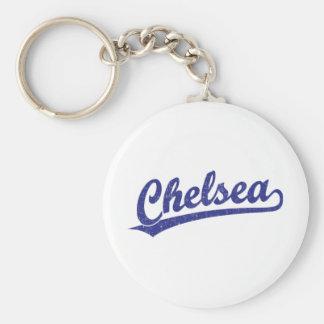 Chelsea script logo in blue keychain