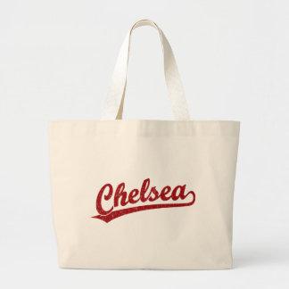 Chelsea script logo in red tote bags