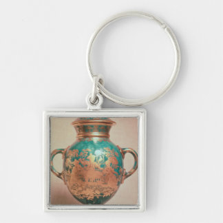 Chelsea vase and lid with gilt chinoiserie keychains