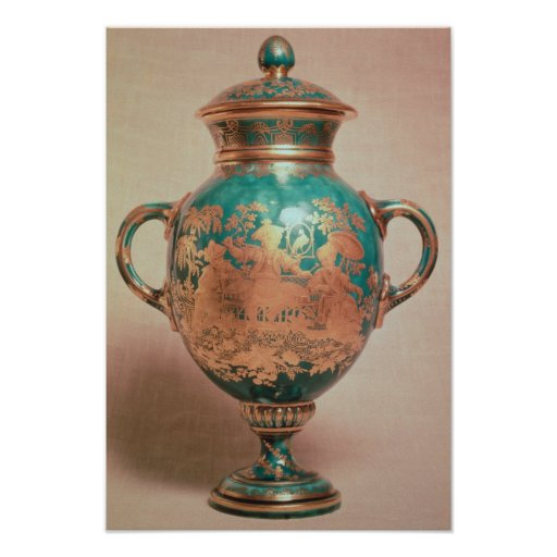 Chelsea vase and lid with gilt chinoiserie poster