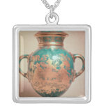 Chelsea vase and lid with gilt chinoiserie square pendant necklace