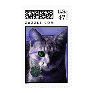Chelya Kitty Cat with the Green Eyes in Purple Postage