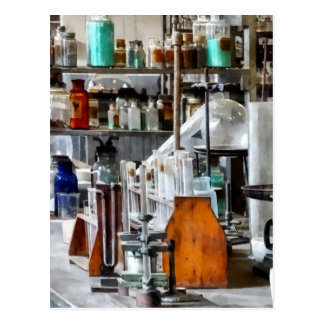 Chem Lab With Test Tubes And Retort Postcard