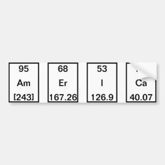 Chemical Elements: Americium Erbium Iodine Calcium Bumper Sticker