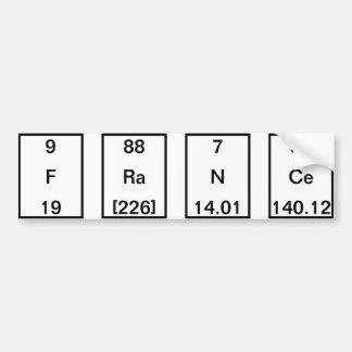 Chemical Elements: Fluorine Radium Sodium Cerium Bumper Sticker
