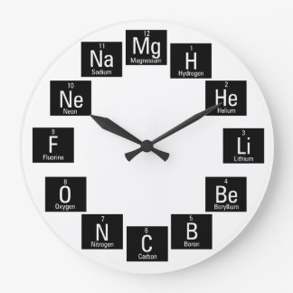 Chemical Elements Fun Nerdy Large Clock