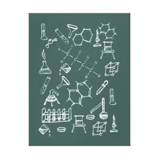 Chemical lab equipment scribbles stretched canvas prints