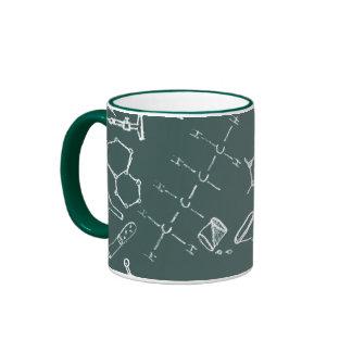 Chemical lab equipment scribbles coffee mug