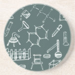 Chemical lab equipment scribbles drink coasters