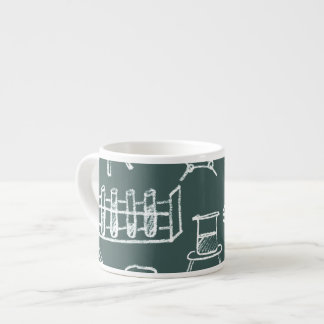 Chemical lab equipment scribbles espresso cups
