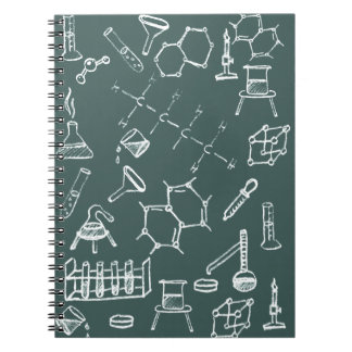 Chemical lab equipment scribbles notebook