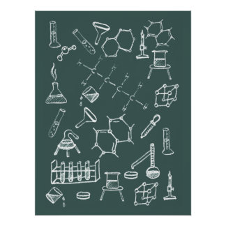 Chemical lab equipment scribbles poster