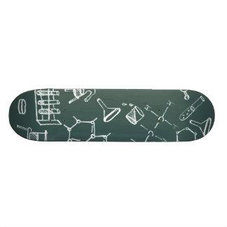 Chemical lab equipment scribbles skateboard deck