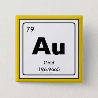Chemical periodic table of elements: Au Pinback Button