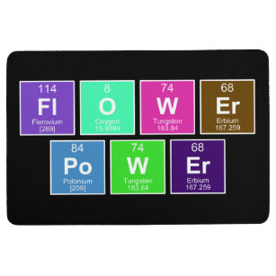 Power chemistry science periodic table gifts on zazzle chemical periodic table of elements flower power floor mat urtaz Gallery