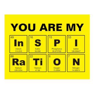 Chemical periodic table of elements: InSPIRaTiON Postcard