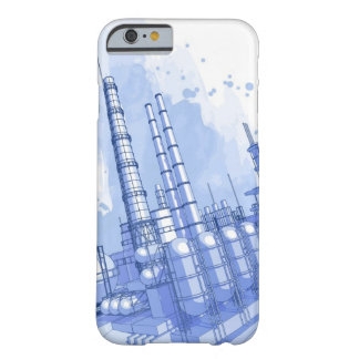 Chemical plant & watercolor background barely there iPhone 6 case