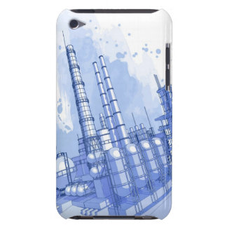 Chemical plant & watercolor background barely there iPod cover