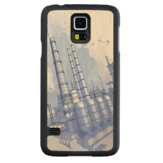 Chemical plant & watercolor background carved® maple galaxy s5 case