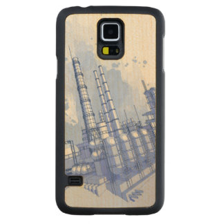 Chemical plant & watercolor background carved® maple galaxy s5 slim case