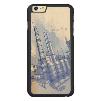 Chemical plant & watercolor background carved® maple iPhone 6 plus case