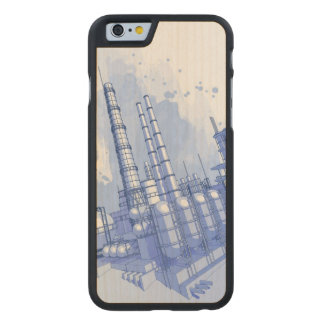 Chemical plant & watercolor background carved® maple iPhone 6 slim case