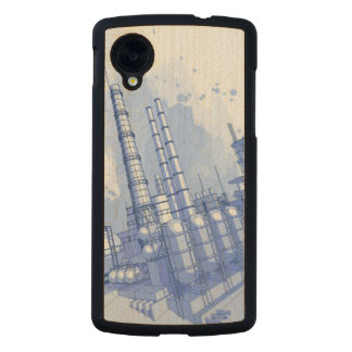 Chemical plant & watercolor background carved® maple nexus 5 slim case