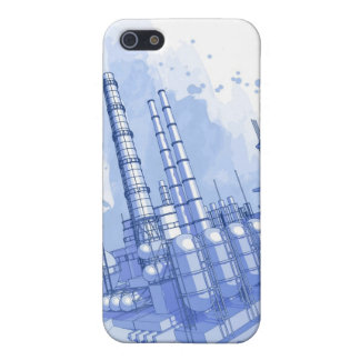 Chemical plant & watercolor background case for iPhone SE/5/5s