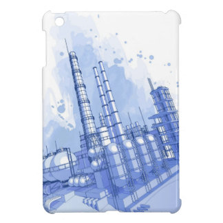 Chemical plant & watercolor background case for the iPad mini