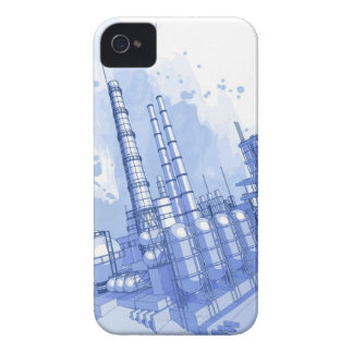 Chemical plant & watercolor background Case-Mate iPhone 4 case