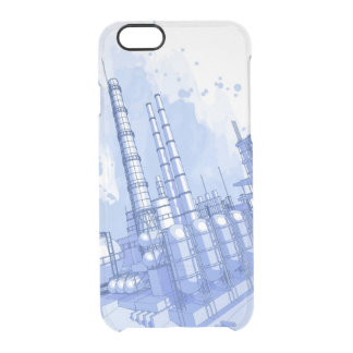 Chemical plant & watercolor background clear iPhone 6/6S case