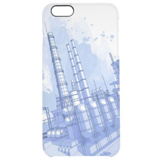 Chemical plant & watercolor background clear iPhone 6 plus case