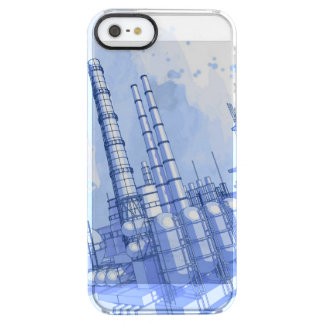 Chemical plant & watercolor background clear iPhone SE/5/5s case