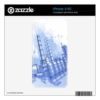 Chemical plant & watercolor background decal for iPhone 4