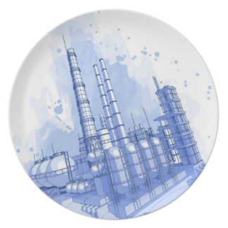 Chemical plant & watercolor background dinner plate