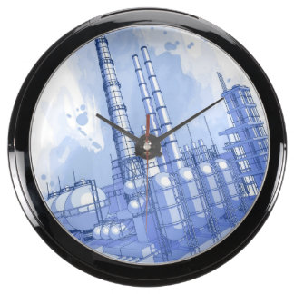 Chemical plant & watercolor background fish tank clocks