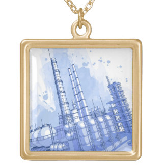Chemical plant & watercolor background gold plated necklace