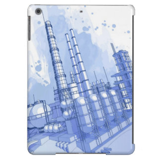 Chemical plant & watercolor background iPad air case