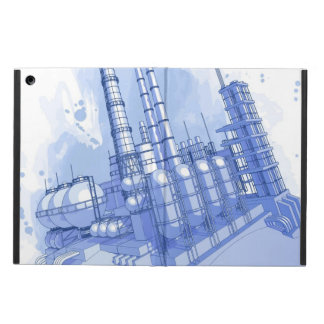 Chemical plant & watercolor background iPad air cases